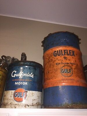 "100 LB STEEL GULFLEX""A""GULF GREASE CAN OIL DRUM BARREL& 5 Gallon Gas Can"