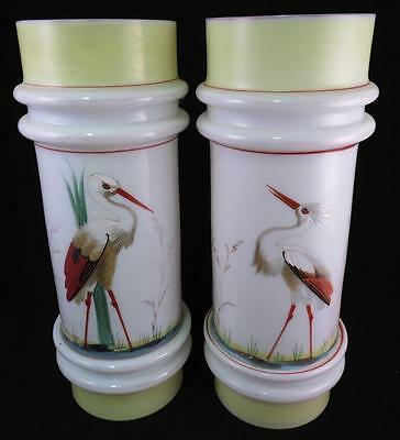 Pair of 19th Century Antique White Glass Vases w/ Hand Painted Asian Crane Bird