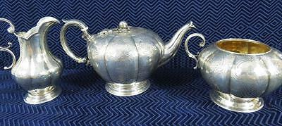 Early 19th Century Benjamin Smith London Sterling Silver Tea Set 39.43 tr oz