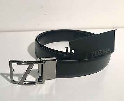 Zegna Reversible leather belt  Z buckle in Gun Metal black Saffiano Leather NWT