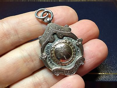 Heavy Antique Rose 9ct Gold  Silver Sports  Medallion Watch Chain Fob wt 11.68 g