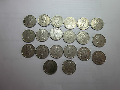 20 Coins set New Zealand 5 Cent coins.