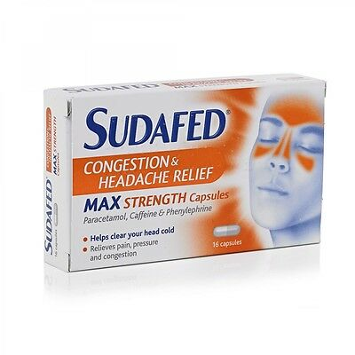 Sudafed Congestion & Headache Relief Max Strength Capsules 16