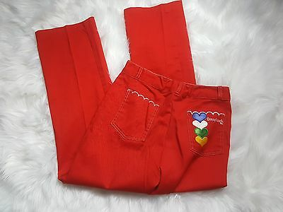 Vintage Pretty Plus bell bottom 70's REd hearts red pants 12 1/2