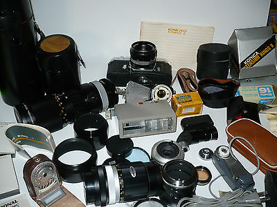 Huge Bulk Lot Konica Minolta Hexanon Camera 1:3.5 Many Lenses Assorted Accessory