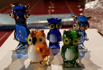 Lot of 5 Hand Blown Glass Small Owl Figurines