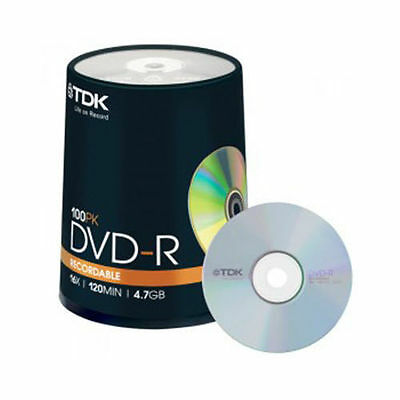 TDK DVD-R 4.7GB Blank Recordable Discs 16x 100 Pack Spindle CD's Storage NEW!