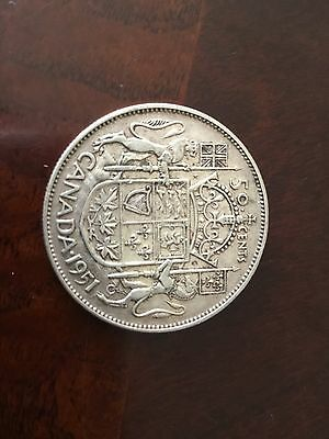 1951 Canada silver 50 Cents King George VI very good condition (1)