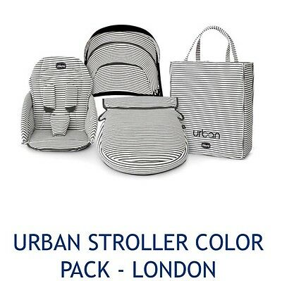 New! Chicco Urban Stroller London Stripe Color Pack Charcoal Gray Fast Shipping!