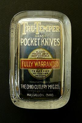 The OHIO CUTLERY MFG. CO. Tru-Temper pocket knives -  glass paperweight display