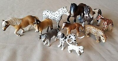 Lot of 11 Schleich Animal Figures Toys Horses dogs safari animals