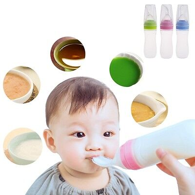 1Pc Infant Baby Silicone Feeding With Spoon Feeder Food Rice Cereal Bottle 120ML