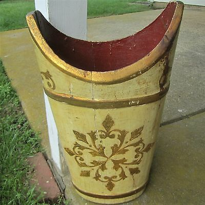 Italian Florentine Gold Shabby Chic Hollywood Regency Tole Basket Umbrella Stand