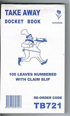 100 Take away docket books TB721: 100 Leaves numbered with claim slip