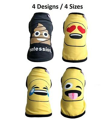 Emoji Pet Jacket Shirt for Small - Med Dogs Dog Puppy Sweat Shirt Clothes Vest