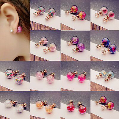 Korean Fashion Women's Double Sides Flower Crystal Ball Ear Stud Earrings Gift
