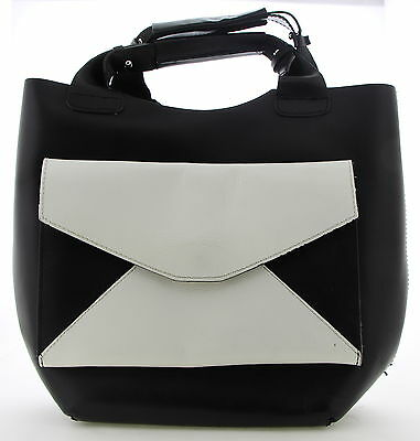 Women's ZARA Black & White Leather Double Strapped Shoulder Purse