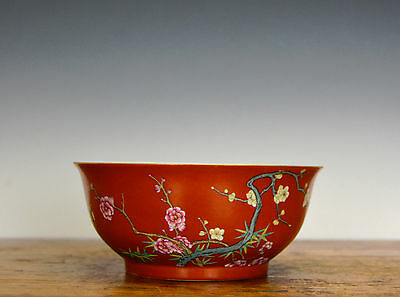 Fine Chinese Qing Qianlong Famille Rose Enamel Coral Red Glazed Porcelain Bowl