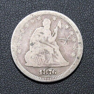 1876 Seated Liberty Silver Quarter