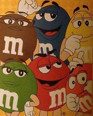"""m&m's Characters Blanket 60"""" x 50"""" Brand New in Package Very Nice"""