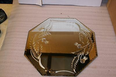 Antique Art Deco Beveled Edge Etched Thistle Frameless Octagon Mirror 14 x 14in