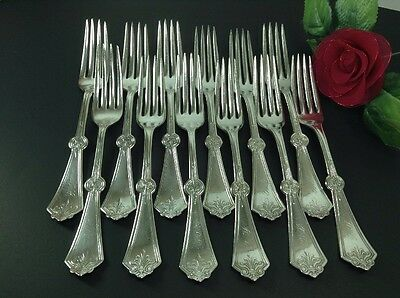 Rogers Bros A1 Persian Set Of 12 Dinner Forks 1871 Silverplate Flatware Art Deco