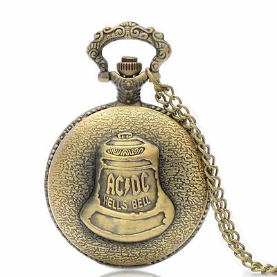 AD/DC Hells Bell Antique Bronze Pocket Watch Pendant Necklace - Great Gift Idea