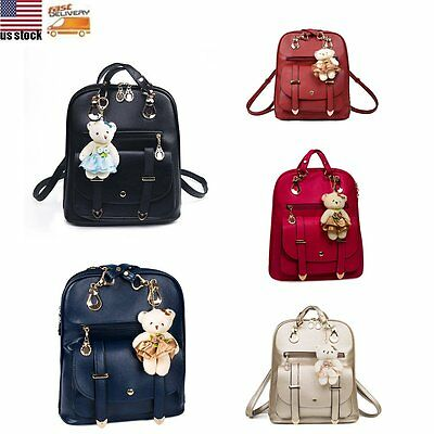 Fashion Girl Women Leather Backpack Rucksack Travel School Shoulder Bag Satchel