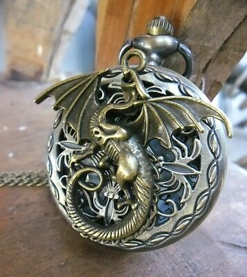 Gothic Dragon Steampunk Bronze Pocket Watch Game of Thrones + 2 Necklace Pendant