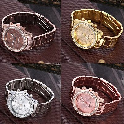 Women's Fashion Geneva Bling Crystal Stainless Steel Analog Quartz Wrist Watch F