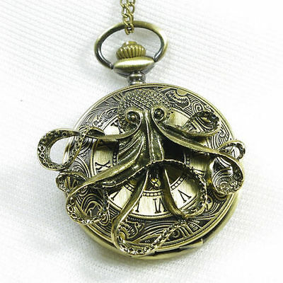 Octopus Pirate Antique Bronze Quartz Pocket Watch Necklace Pendant + Extra Gifts