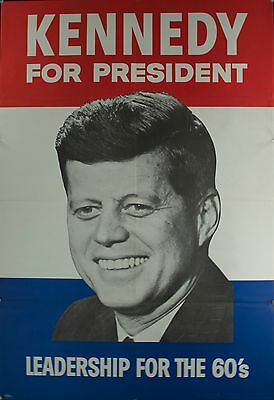 1960 Kennedy for President Leadership for the 60s Election Poster VINTAGE ORIG