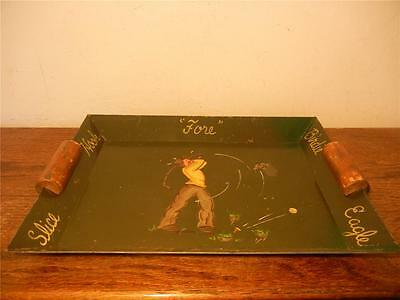 Vintage Golfing Serving Tray Of Golfer On Green, Metal Tray With Wooden Handles.