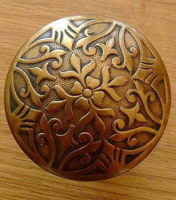 Beautiful Antique Drum Victorian Eastlake Brass Bronze Door Knob - Floral Flower