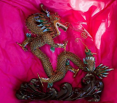 Antique Vintage Chinese Dragon Filigree Statue 925 Sterling Silver Tiger's Eye