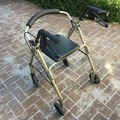 Rollator 4 Wheel Walker Foldable Height Adjustable Mobility Aid with Seat