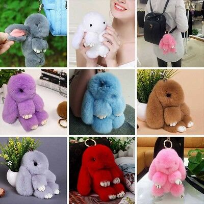 "6"" Cute Bunny Rex Rabbit Fur Bag Handbag Keychain Pom Ball Doll Key Ring Pendant"