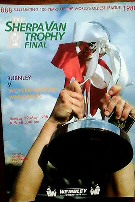 Burnley V Wolves 29/5/1988 Sherpa Van Trophy @ Wembley