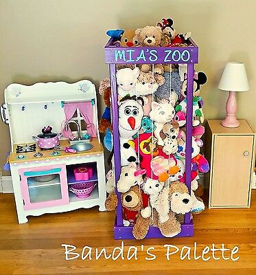 "2', 32"", 3', 4' Personalized Stuffed Animal Zoo, Wood Animal Holder, Storage, St"