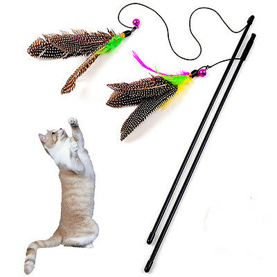 Funny Cat / Kitten Pet Bird Feather Teaser Wire Chaser Pet Toy Wand Beads Play