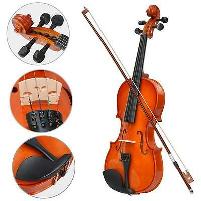 NEW Full Size 4/4 Natural Acoustic Wooden Violin Beginners/Practice Violin Set