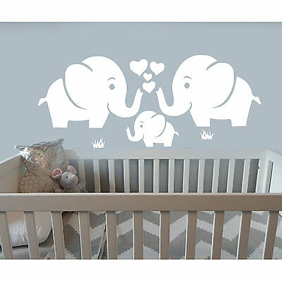 Sticker elephant family love heart  Decals Vinyl baby Nursery Decor wall kids