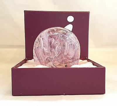 """Gi~Latticino~Ribbons~Pink~Blue~White~Clear~Art Glass~Paperweight~3""""h~Boxed"""