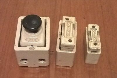 Antique Vintage Porcelian Ceramic Electrical Fuses