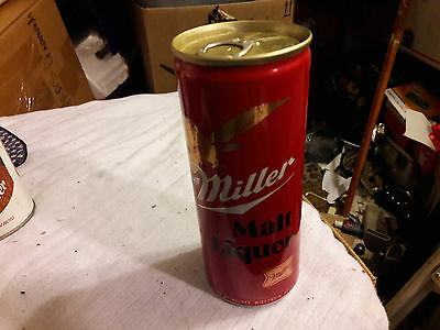 VERY NICE MILLER MALT LIQUOR BEER CAN 16oz ALUMINUM BOTTOM OPENED PINT