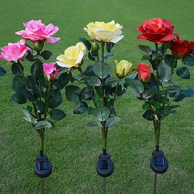 Outdoor Solar Powered LED Light Waterproof Rose Flower Party Decorative Lights
