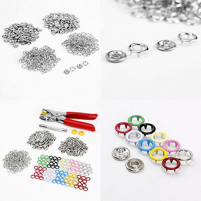 200 Complete Sets 5 Colors No Sew Press Studs Prong Snap Button Fasteners