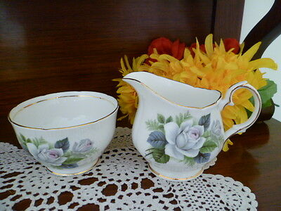 Tea Set Size Milk Jug And Sugar Bowl Duchess Bone China England White Rose