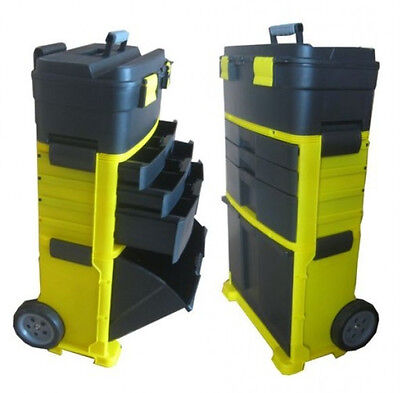 Chest Trolley Cart Storage 3 Compartments Plastic Toolbox Black Tool Yellow New