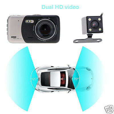 4.0'' Dual Lens Camera 1080P Car DVR Video Dash Cam Recorder Rear View Support